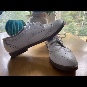 White Faux Leather Shoes